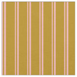 [ Thumbnail: Light Pink and Dark Goldenrod Stripes Fabric ]
