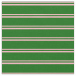 [ Thumbnail: Light Pink and Dark Green Lines Fabric ]
