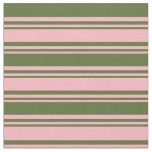 [ Thumbnail: Light Pink and Dark Olive Green Stripes Pattern Fabric ]
