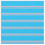 [ Thumbnail: Light Pink and Deep Sky Blue Stripes Fabric ]