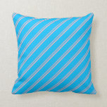 [ Thumbnail: Light Pink and Deep Sky Blue Stripes Throw Pillow ]
