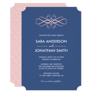Light Pink and Denim Blue Wedding Invitation