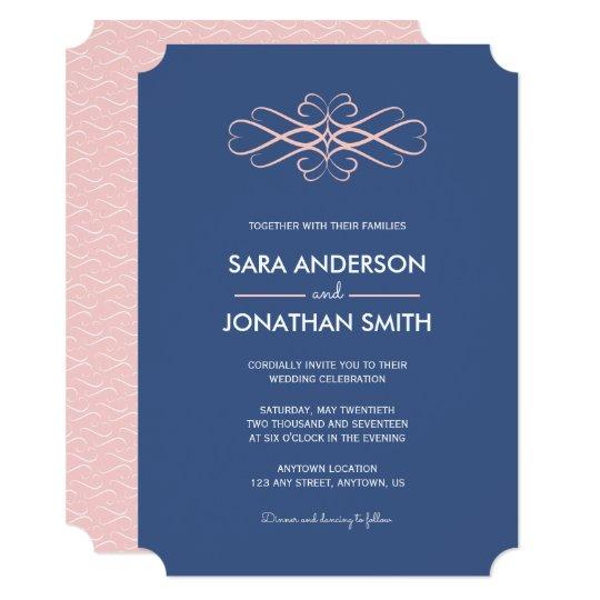 Light Pink And Denim Blue Wedding Invitation