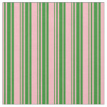 [ Thumbnail: Light Pink and Forest Green Stripes Pattern Fabric ]