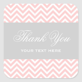 Light Pink and Gray Modern Chevron Stripes Square Sticker
