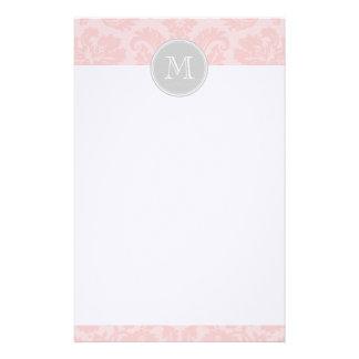 Light Pink and Gray Vintage Damask Custom Monogram Stationery