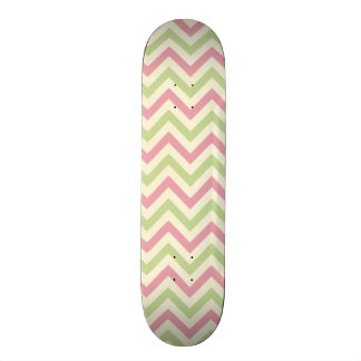Light Pink and Green Chevron Stripes Skate Board
