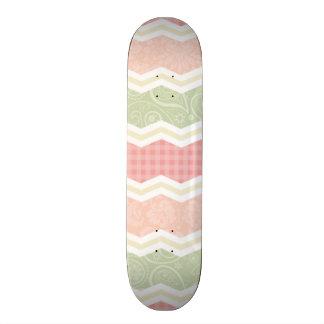Light Pink and Green  Cute Patterns Custom Skate Board