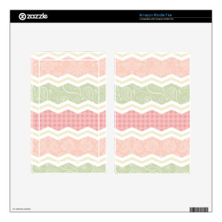 Light Pink and Green Cute Patterns Decals For Kindle Fire