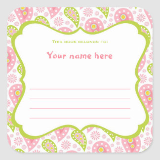 Light Pink and Green Paisley Book Plate Label Square Sticker
