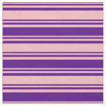 [ Thumbnail: Light Pink and Indigo Stripes/Lines Pattern Fabric ]
