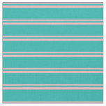 [ Thumbnail: Light Pink and Light Sea Green Colored Stripes Fabric ]