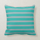[ Thumbnail: Light Pink and Light Sea Green Colored Stripes Throw Pillow ]