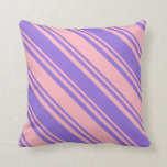 [ Thumbnail: Light Pink and Purple Colored Lined Pattern Pillow ]