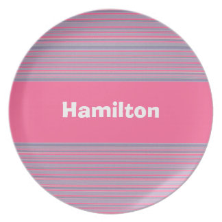 Light Pink and Purple Striped Plate