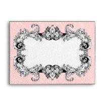 Light Pink and White A7 Gothic Baroque Envelopes