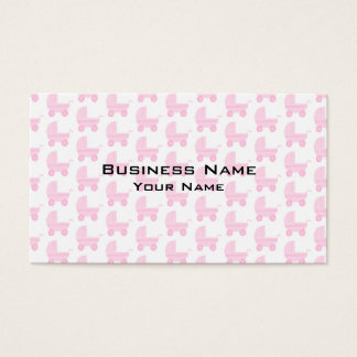 Light Pink and White Baby Stroller Pattern. Business Card