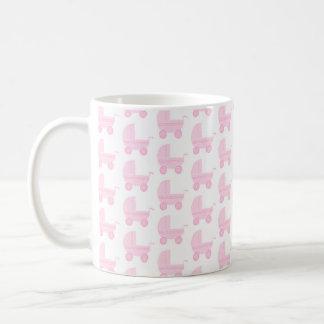 Light Pink and White Baby Stroller Pattern. Coffee Mug