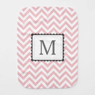 Light Pink And White Chevron Custom Monogram Baby Burp Cloth