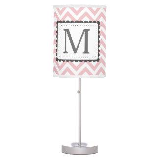 Light Pink And White Chevron Custom Monogram Desk Lamp