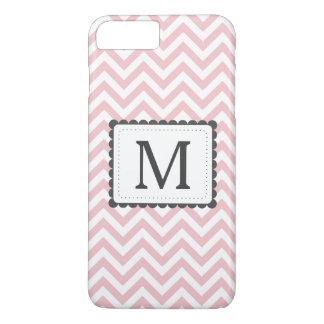 Light Pink And White Chevron Custom Monogram iPhone 7 Plus Case