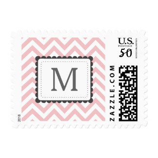 Light Pink And White Chevron Custom Monogram Postage