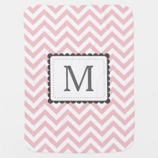 Light Pink And White Chevron Custom Monogram Receiving Blanket