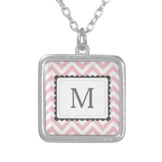 Light Pink And White Chevron Custom Monogram Square Pendant Necklace