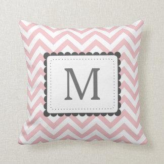 Light Pink And White Chevron Custom Monogram Throw Pillow