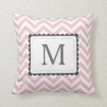 Light Pink And White Chevron Custom Monogram Throw Pillows