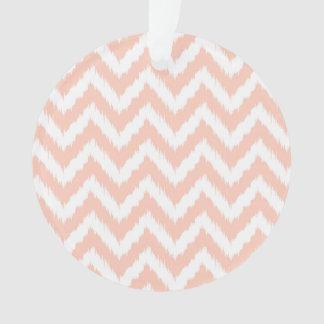 Light Pink and White Chevron Ikat Pattern Ornament