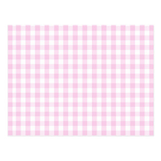 light pink and white gingham pattern preppy girly postcard