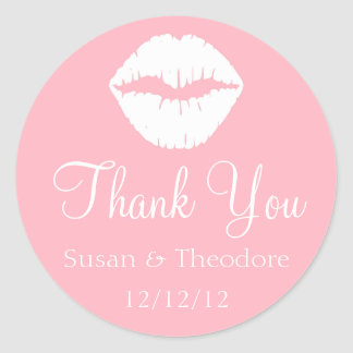 Light Pink and White Lips Thank You Classic Round Sticker