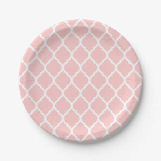 Light Pink and White Moroccan Quatrefoil Paper Plate