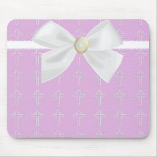 Light Pink and White Mousepad