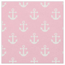 Light Pink and White Nautical Anchors Pattern Fabric