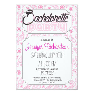 Light Pink and White Paisley Pattern Personalized Invites