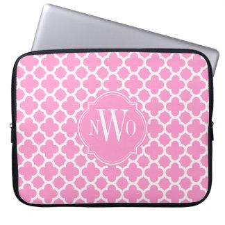 Light Pink and White Quatrefoil Pattern Monogram Laptop Sleeve