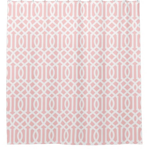 Light pink and white trellis shower curtain zazzle for Light pink shower curtain