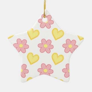 Light Pink and Yellow Stitched Hearts & Flowers Double-Sided Star Ceramic Christmas Ornament