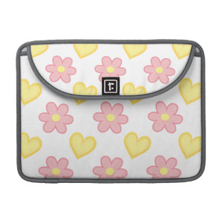 Light Pink and Yellow Stitched Hearts & Flowers Sleeves For MacBook Pro