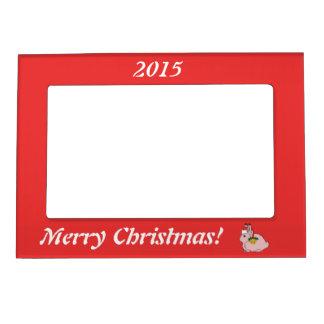 Light Pink Arctic Hare - Santa Hat & Gold Bell Magnetic Picture Frame