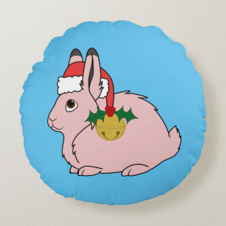 Light Pink Arctic Hare - Santa Hat & Gold Bell Round Pillow