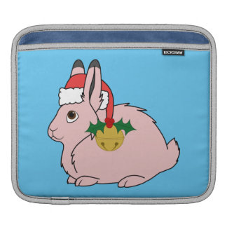 Light Pink Arctic Hare - Santa Hat & Gold Bell Sleeve For iPads