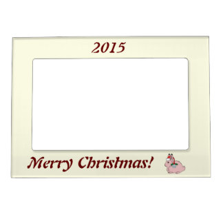 Light Pink Arctic Hare - Santa Hat & Silver Bell Magnetic Picture Frame