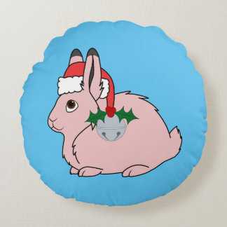 Light Pink Arctic Hare - Santa Hat & Silver Bell Round Pillow