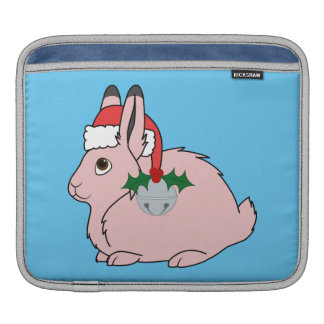 Light Pink Arctic Hare - Santa Hat & Silver Bell Sleeve For iPads