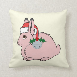 Light Pink Arctic Hare - Santa Hat & Silver Bell Throw Pillows