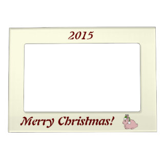 Light Pink Arctic Hare with Green Santa Hat Magnetic Picture Frames
