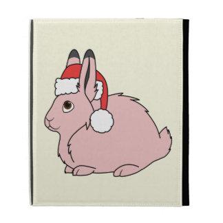 Light Pink Arctic Hare with Red Santa Hat iPad Folio Case